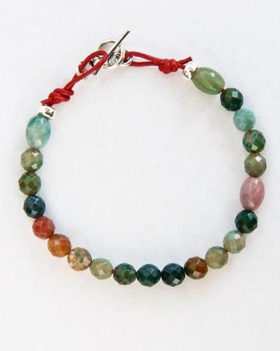 Women's Artisan  Handcrafted Bracelet,  - real, natural fancy jasper faceted stones on red leather cord