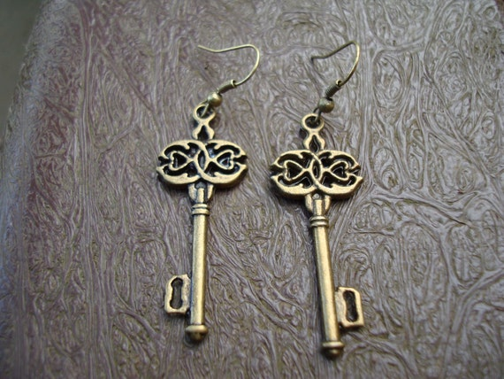 Alice in Wonderland Antique Gold Key Earrings with Bronze Plated Earwires