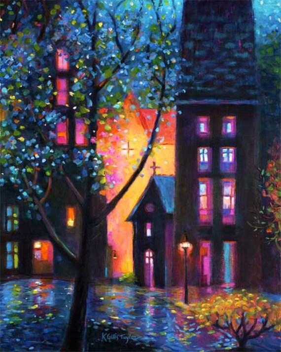 Glowing Night Cityscape Print
