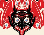 "Devil Krampus Print, Salish Totem Art, Graphic Design, Giclee Print 5""x7"""