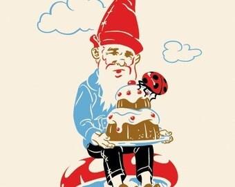 Gnome Mushroom Print, Cake, Ladybug, Fairytale art - Giclee Print