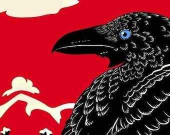 Raven Crow Print, Bird Art, Winter Landscape, Faitytale Art - Giclee Print