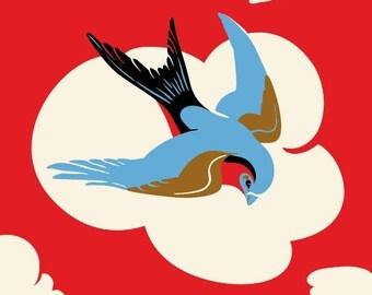 Sparrow Print, Bird Art, Mountains, Rockabilly - 5x7 giclee print