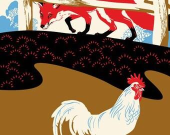 Fox Chicken Print, Red Fox Art, Hunt - Giclee Print