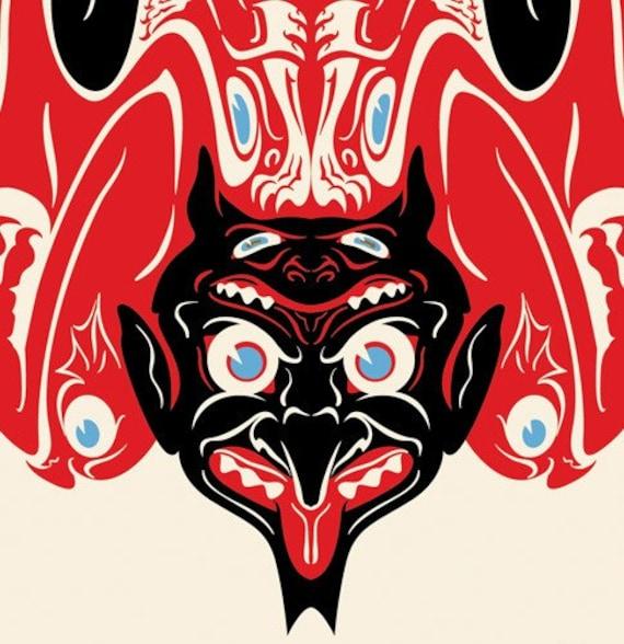 "Devil Krampus Print, Salish Totem Art, Graphic Design, Giclee Print 5""x7"""
