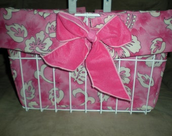 Pink Hibiscus with Pink Velvet Bow Bicycle Basket Liner made in Hawaii