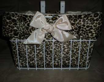 Brown Cheetah Faux Fur with Gold Moire Bow and Lining Bicycle Basket Liner