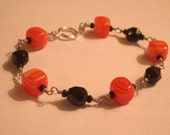 Orange and Black Chain-Link Bracelet - Clearance