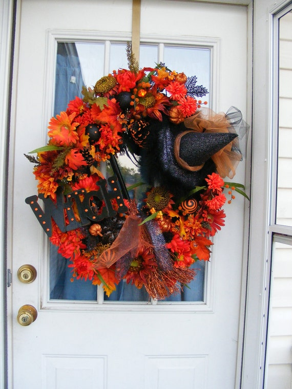 Lighted Halloween Witch Door Weath For Fall With Free US Shipping