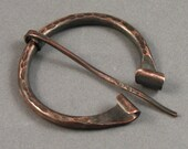 Hammered Copper Classic Penannular Brooch