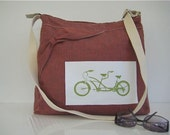 Zippered Messenger Bag - Diaper Bag - Travel Bag Linen Bicycle Bow Pumpkin Brick Red