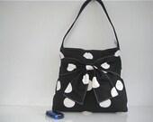 Big Bow Zippered Shoulder Bag - Medium Polka Black White