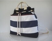 Nautical Leather Trim Backpack Drawstring Hand Held Tote Navy White