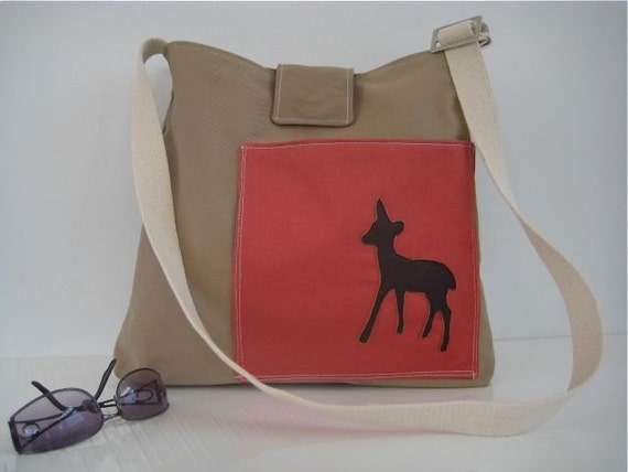 Heavy Twill Leather Bambi Messenger Field Bag  - Khaki and Orange Red