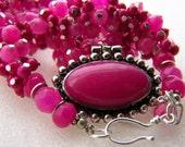 Bright pink jade coral quartz cluster necklace 925
