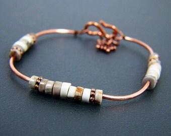 delicate bracelet, heishi bracelet, beaded bracelet, petite bracelet, copper, free shipping