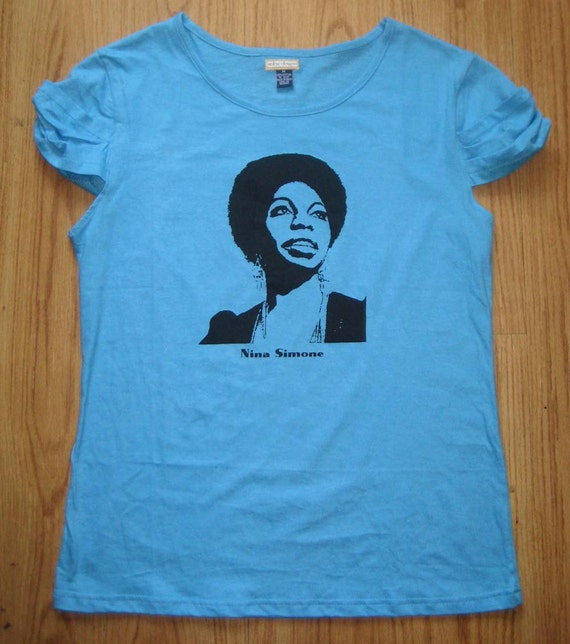 Nina Simone T-Shirt Top, Medium Blue, SALE