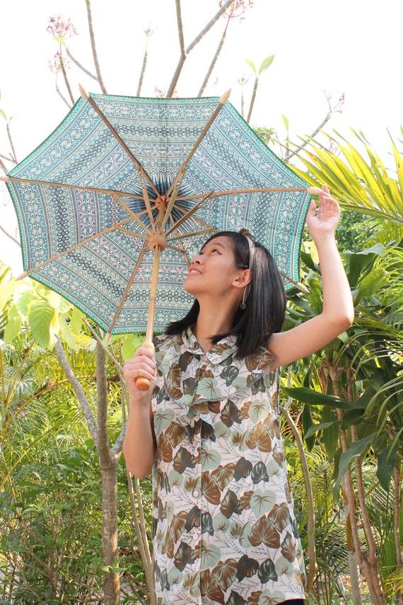 Turquoise color Thai parasol size M