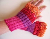 Bright orange, pink, red and purple fingerless gloves