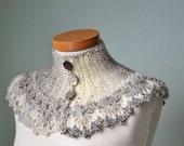 Natural colored crochet collar, cowl, capelet D381
