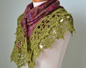 Green red knitted shawl with crochet lace trim