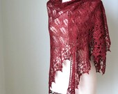 Red lace shawl knitted shawl with lace crochet trim