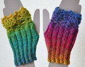 Rainbow fingerless lace knitted gloves wristwarmers for 4 -6 year girl