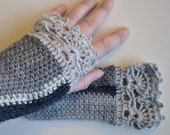 Shades of grey crochet gloves with lace trim F619