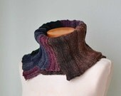 Knitted cowl asymmetrical striped pattern  G641