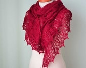 Red lace knitted merino shawl with crochet trim  G677