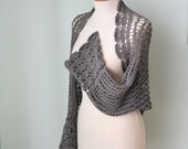 Grey crochet lace cotton shrug  G684