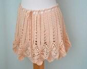 Peach lace crochet poncho skirt top  G719