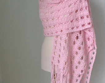 Lace crochet shawl, stole, Pink, Cotton, F596