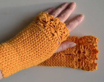 Golden yellow crochet gloves with lace trim F606
