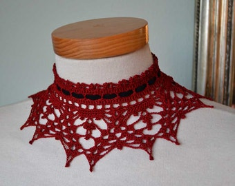 Lace crochet choker, red burgundy oxblood cotton, black suede ribbon F573