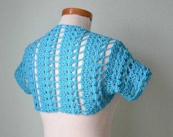 Crochet shrug bolero, lace, blue, Aqua, Size S/M,  G754