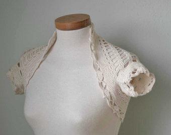 Crochet shrug bolero  lace ivory G758