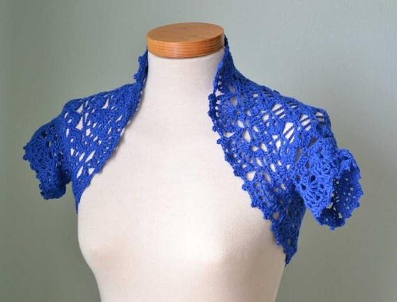 Blue cotton lace crochet shrug bolero E508