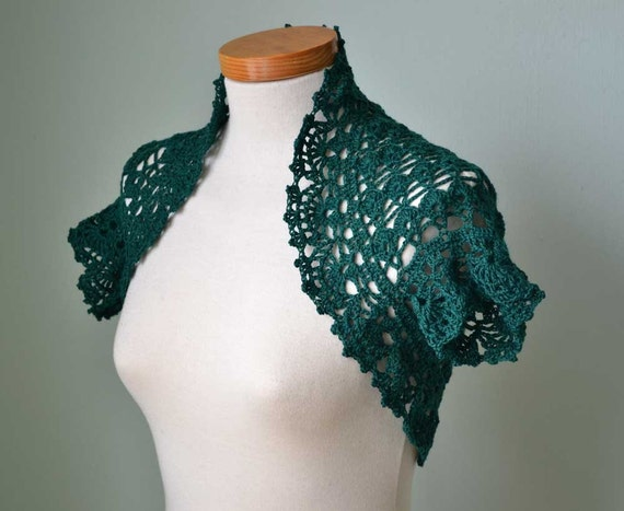 Crochet shrug bolero, Emerald, Green, Cotton, E488