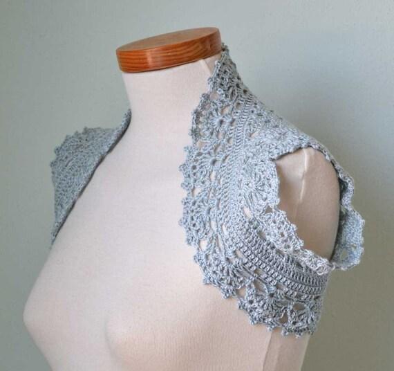 Crochet shrug bolero lace ice blue D398