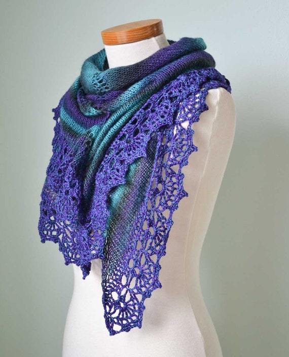 Purple turquoise knitted shawl with crochet lace trim
