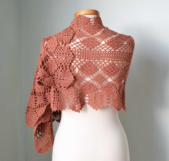 Rosewood lace crochet shawl stole wrap scarf D350