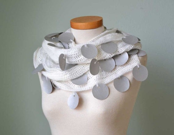 White crochet scarf with silver fake leather circles  G723