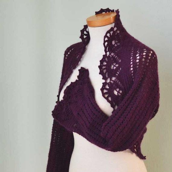 Purple crochet lace wool shrug  G637