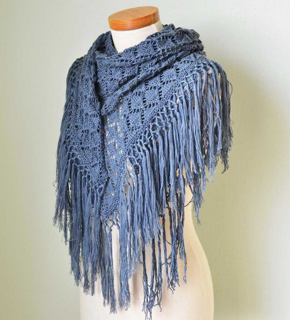 Blue cotton lace knitted shawl with fringe E502