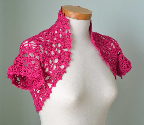 Hot pink cotton lace crochet shrug bolero  G728