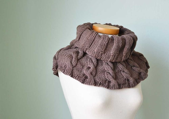 Brown knitted cabled capelet, cowl, shoulderwarmer E438