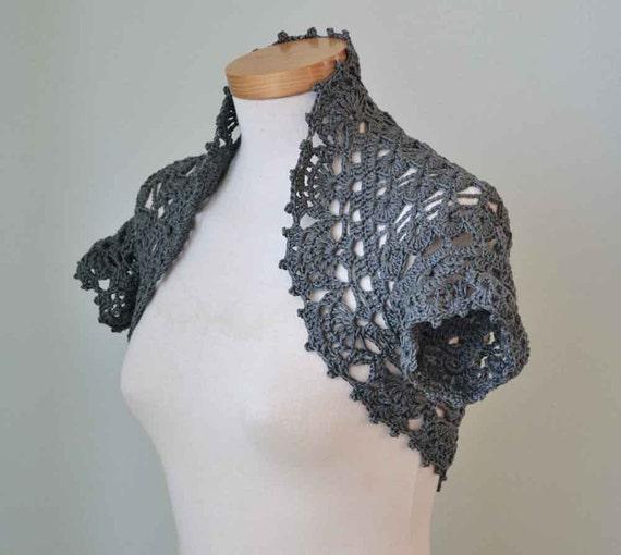 Grey cotton lace crochet shrug bolero  G695
