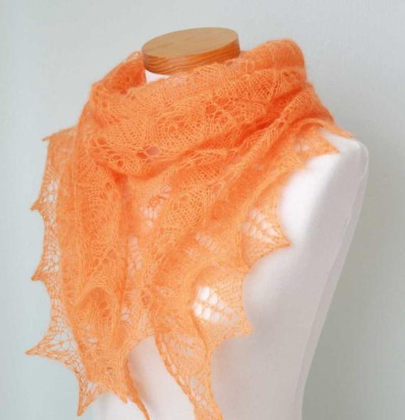 Tangerine Lace knitted shawl orange  G714