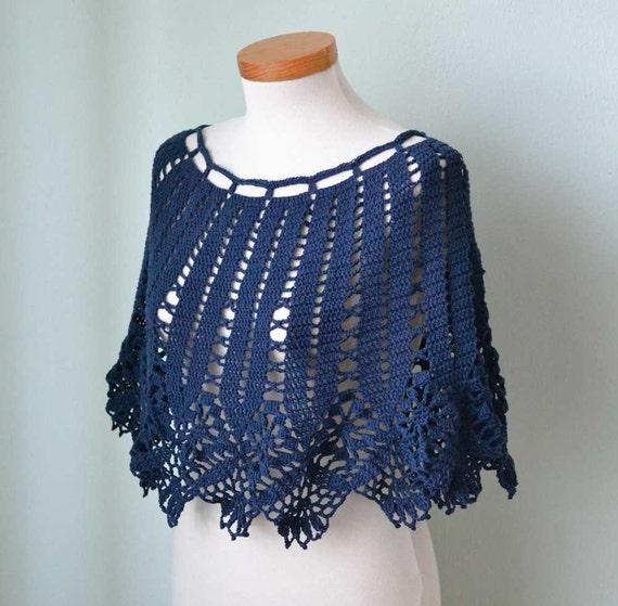 Navy blue lace crochet poncho  G716